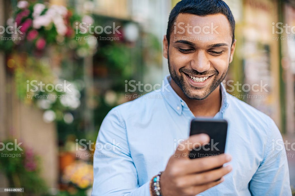 Happy messaging stock photo