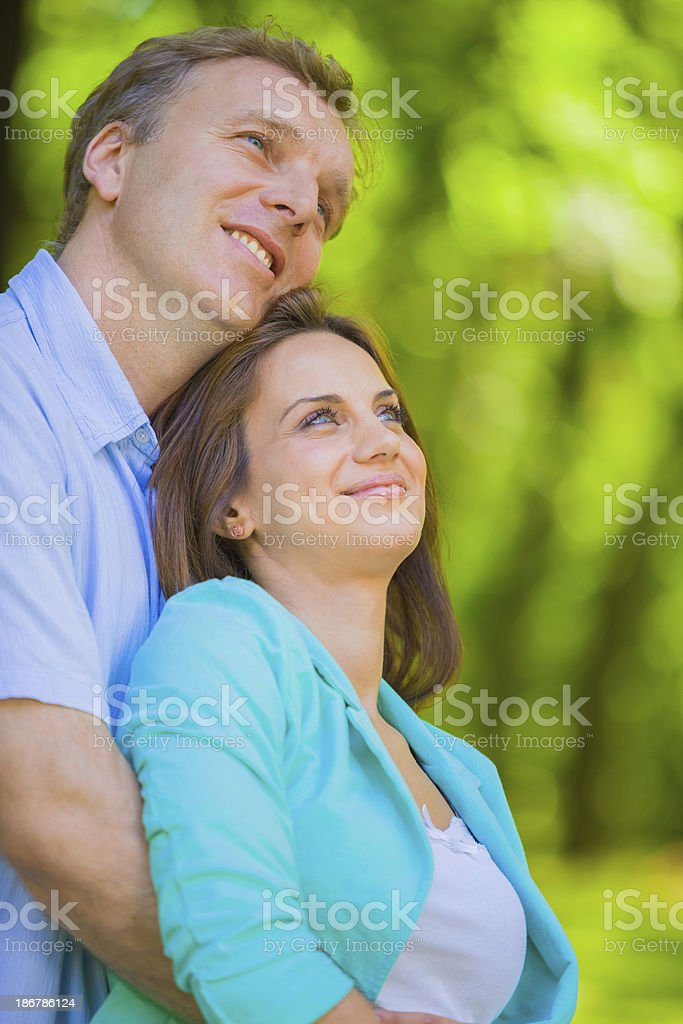 Happy mid adult couple outdoors royalty-free stock photo