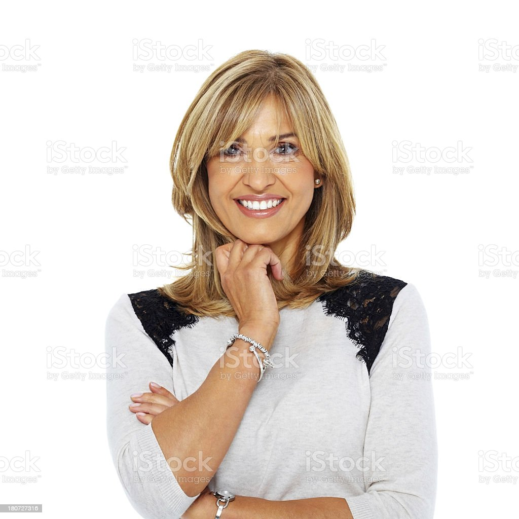 Happy middle aged woman looking at camera royalty-free stock photo