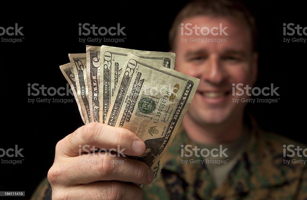 Happy Military Man with Money royalty-free stock photo