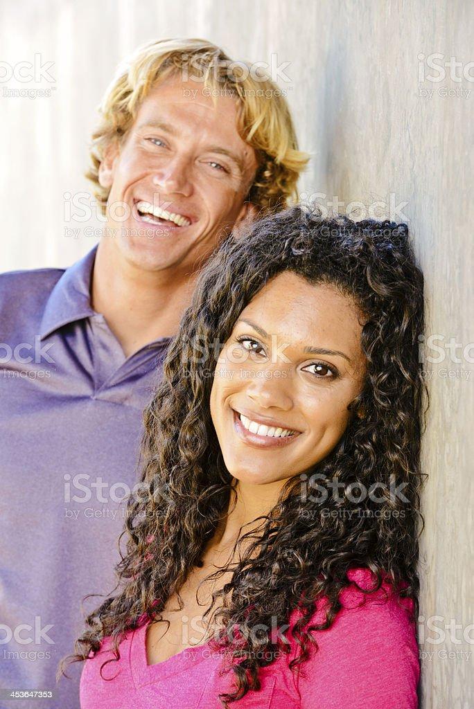 Happy Mixed Couple enjoying summertime royalty-free stock photo