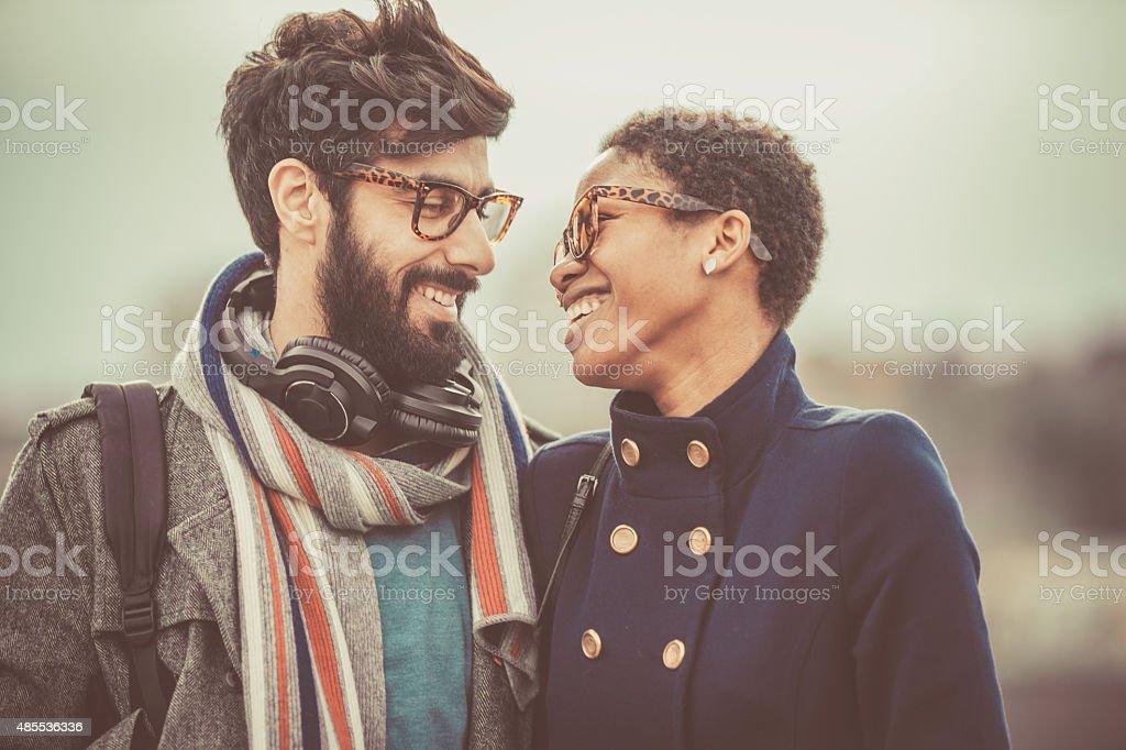 happy mixed race couple stock photo
