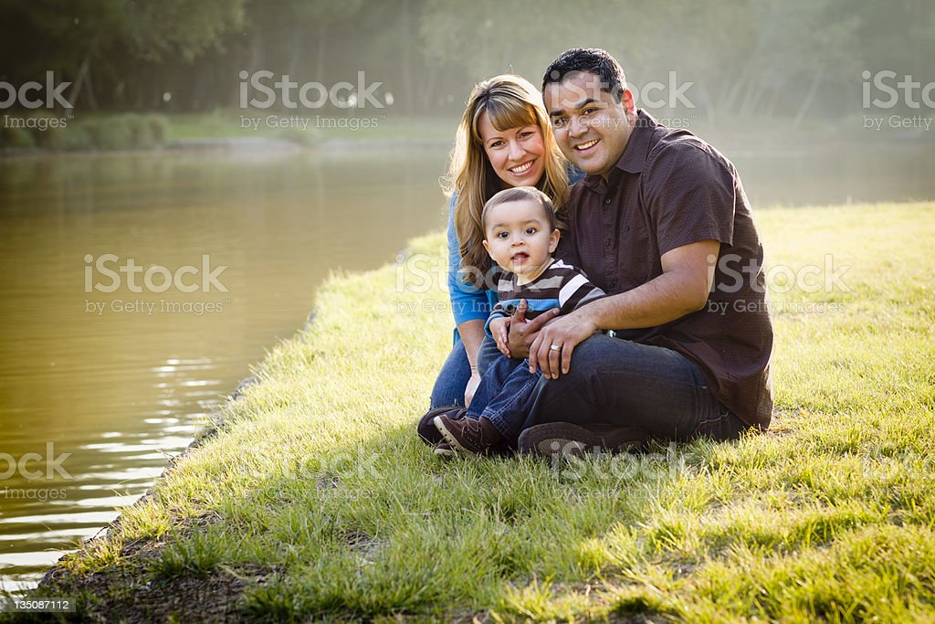 Happy Mixed Race Ethnic Family Posing for A Portrait royalty-free stock photo