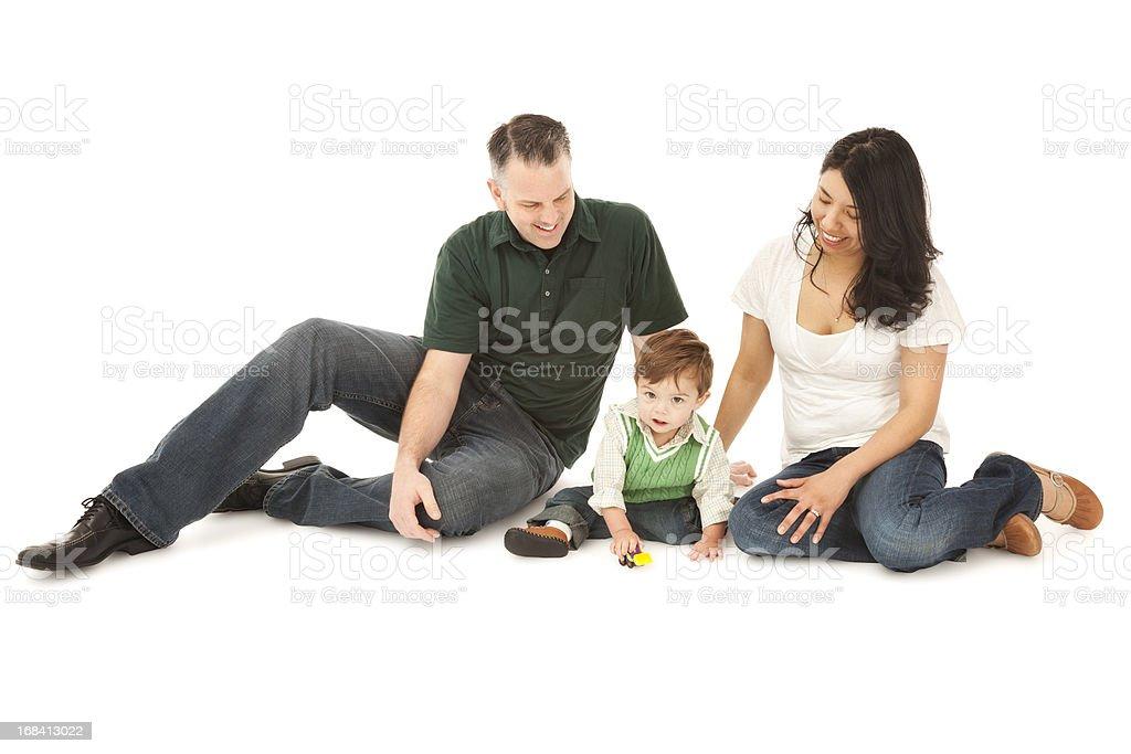 Happy Mixed Race Family of Three on White royalty-free stock photo