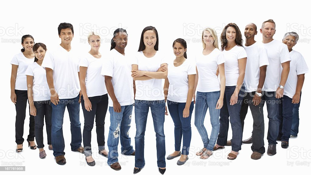 Happy mixed race group of people royalty-free stock photo