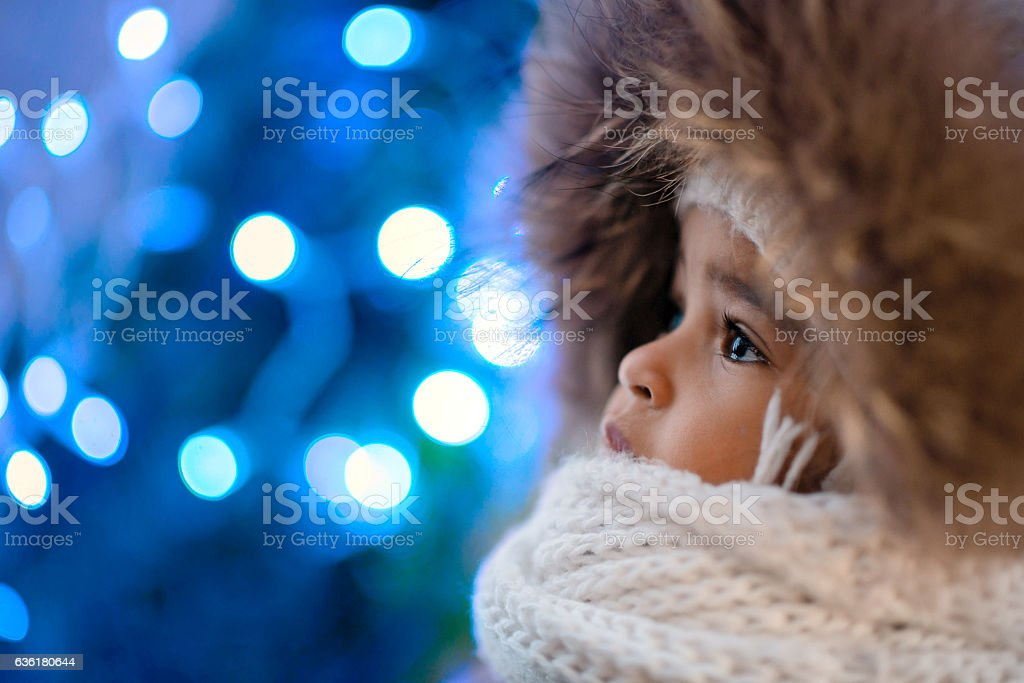 Happy Mixed Race Toddler Girl stock photo