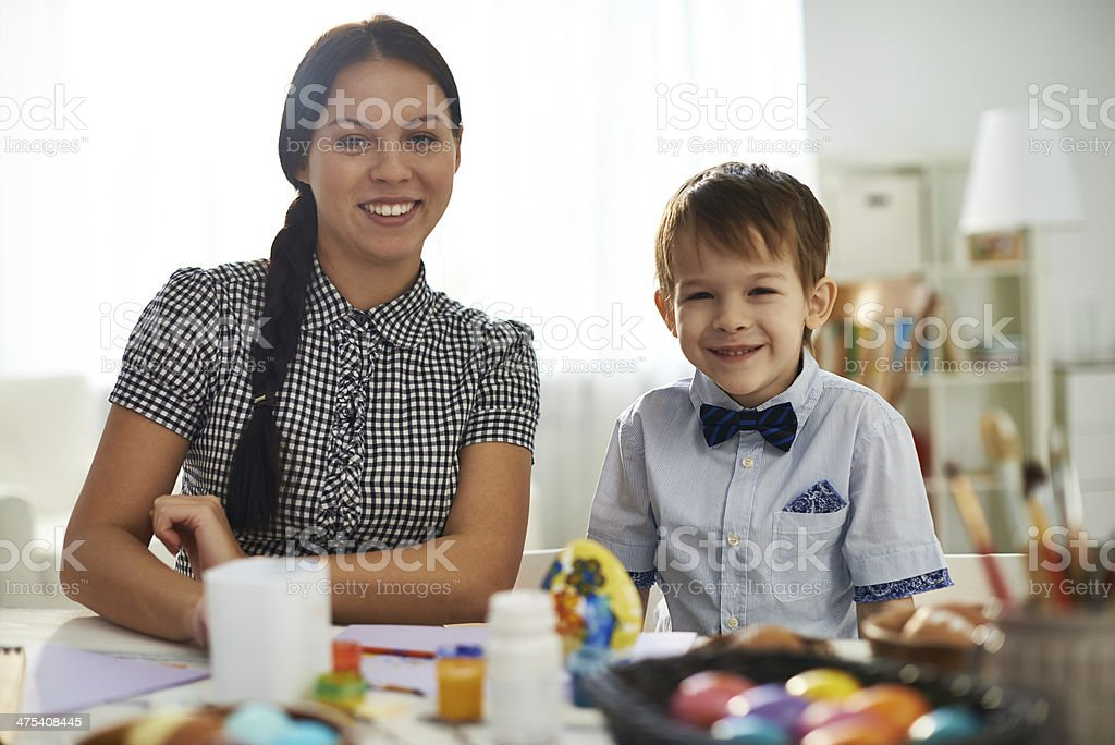 Happy mom and son stock photo