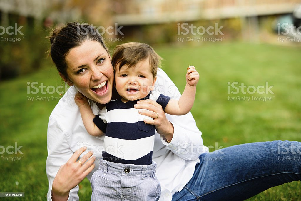 Happy Mom with Son stock photo