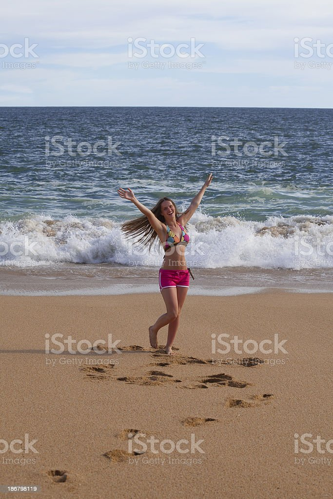 happy moment on the beach royalty-free stock photo