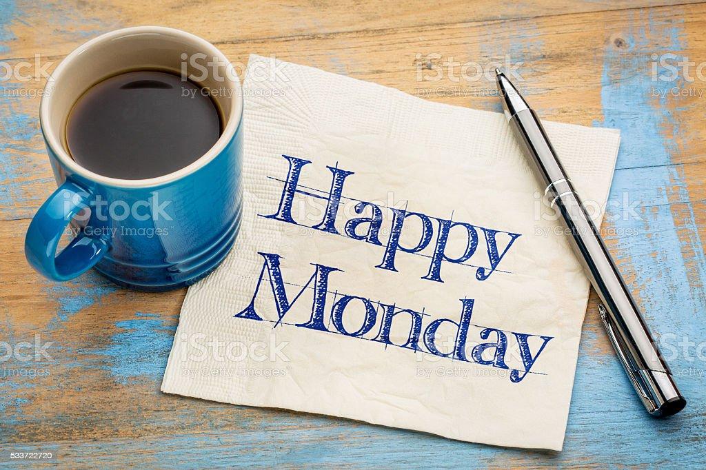 Happy Monday napkin handwriting stock photo