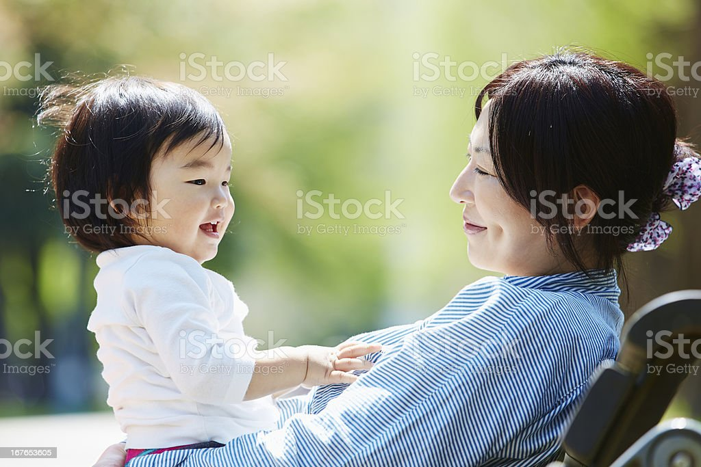 Happy mother and Baby boy stock photo