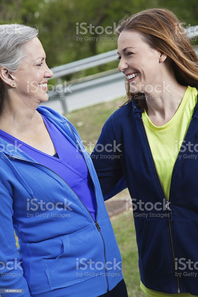 Happy Mother and Daughter Enjoying Time Together Outside royalty-free stock photo
