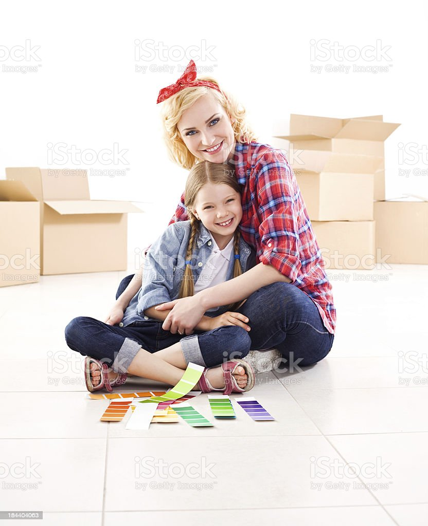 Happy mother and daughter in a new home royalty-free stock photo
