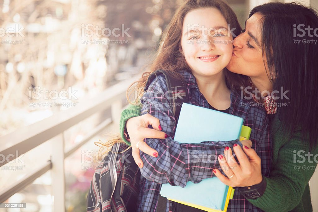 Happy Mother and Daughter with Books stock photo