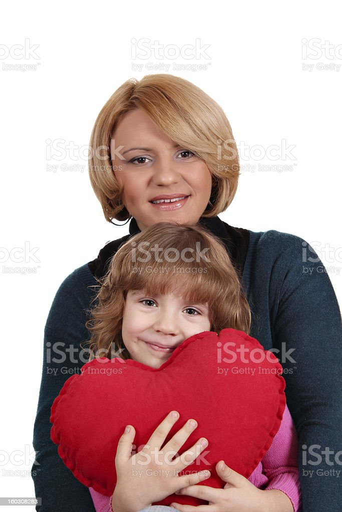 happy mother and daughter with heart royalty-free stock photo