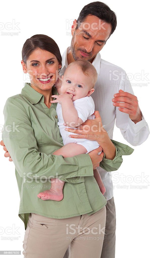 Happy mother and father with baby boy stock photo