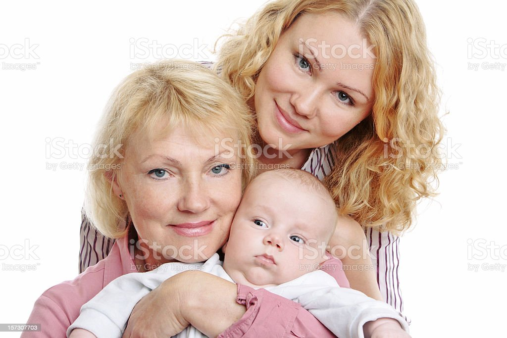 Happy mother and grand-mother with baby royalty-free stock photo