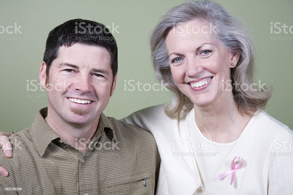 Happy Mother and Son at a Cancer Survivor Event royalty-free stock photo