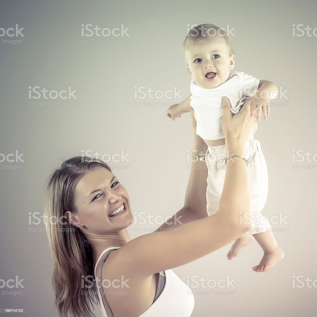 Happy mother and son royalty-free stock photo