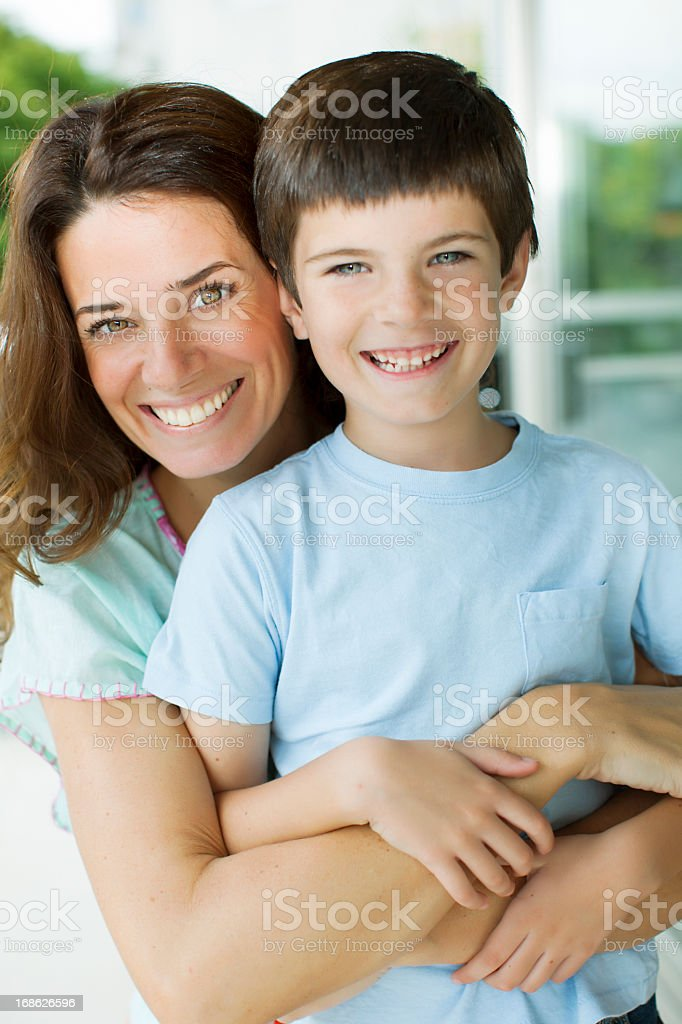 Happy Mother and Son Portrait royalty-free stock photo