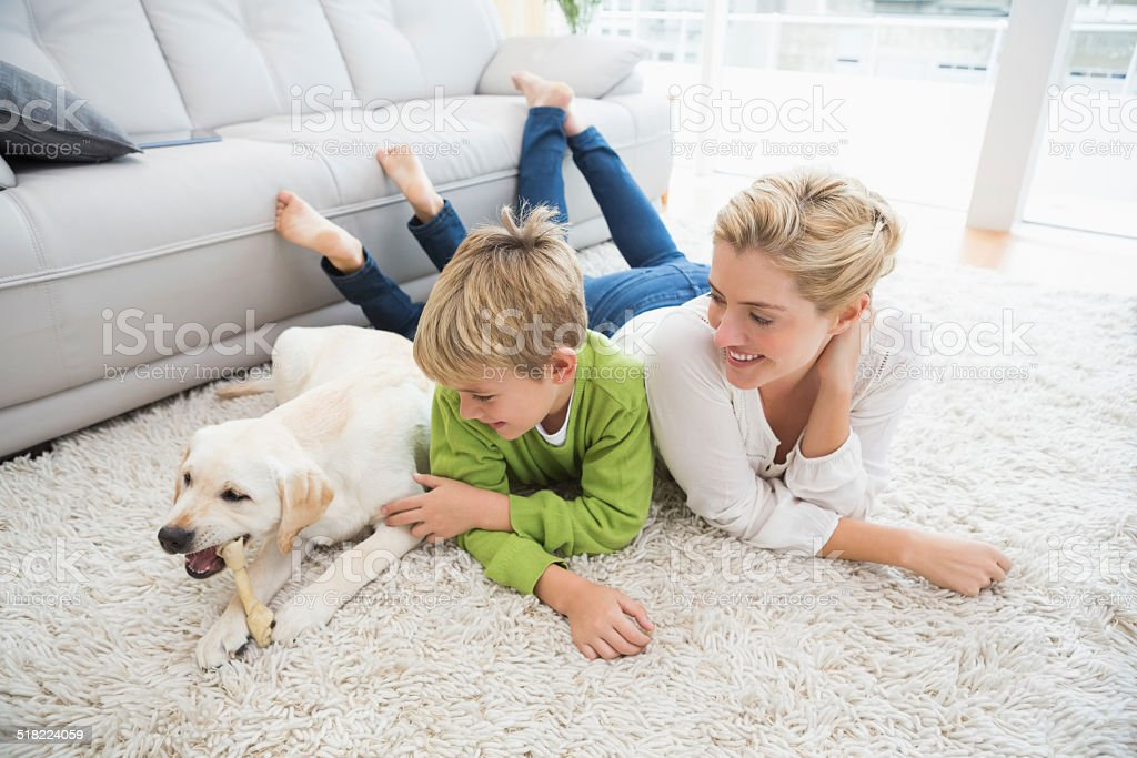 Happy mother and son with puppy stock photo
