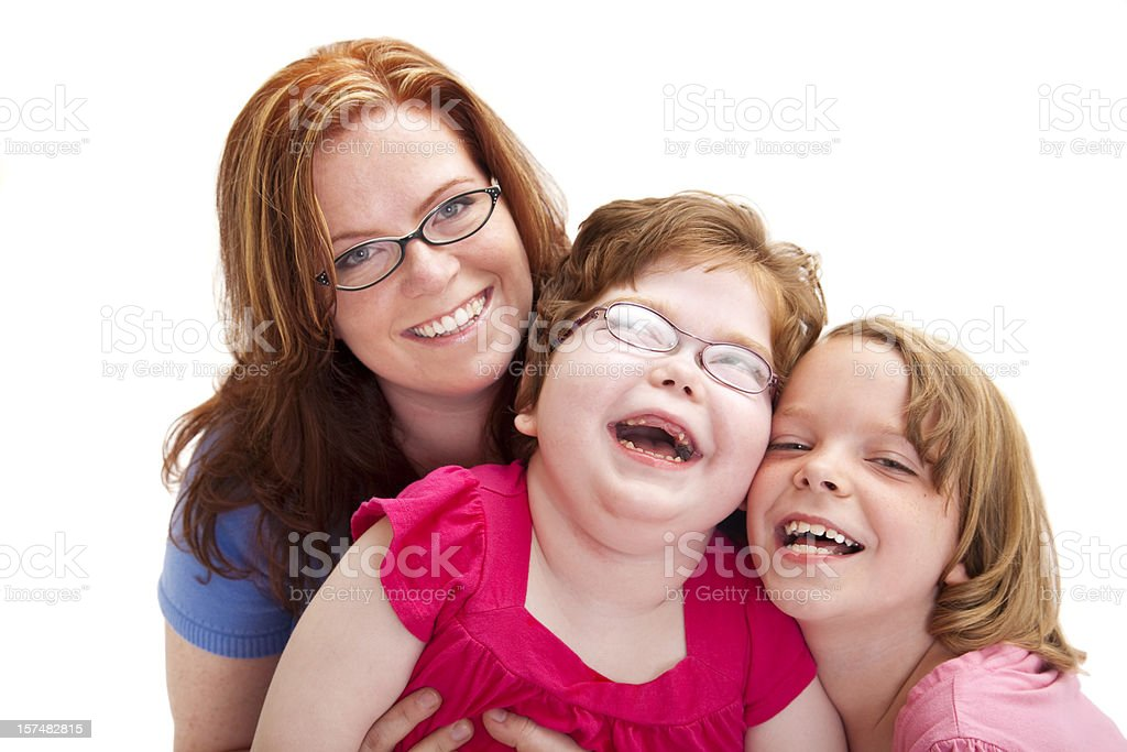 Happy Mother and Two Laughing Daughters royalty-free stock photo