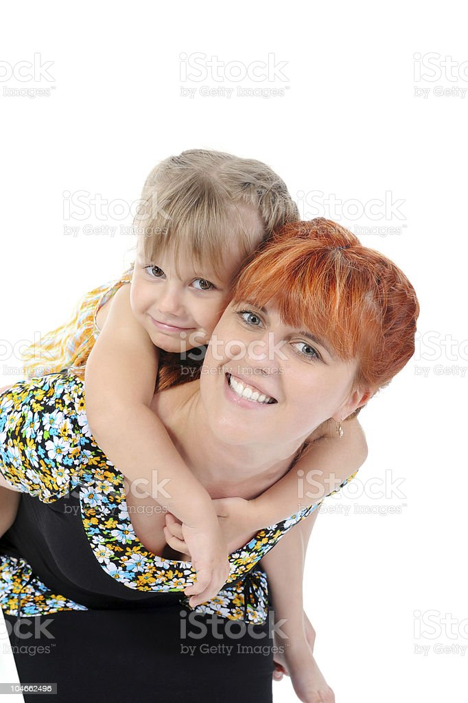 happy mother hugging her daughter. stock photo