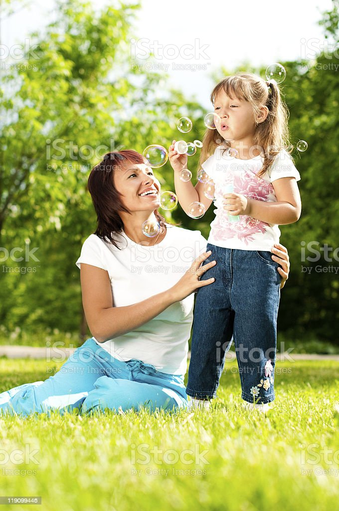 happy mother with her daughter stock photo