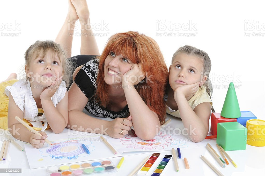 Happy mother with her daughters stock photo