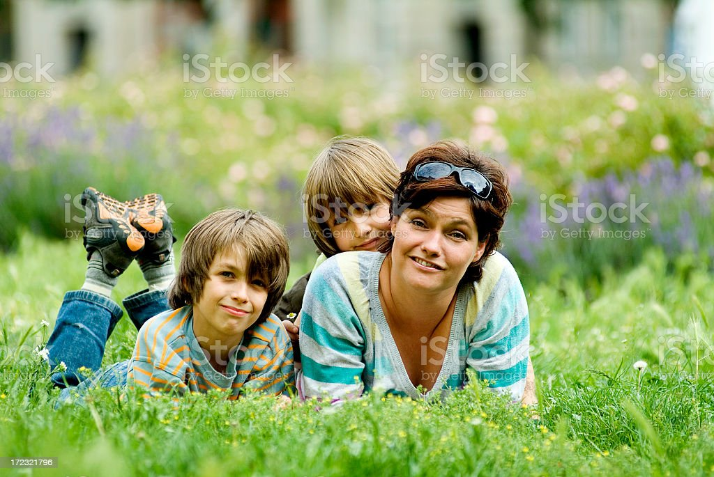 Happy mother with her sons royalty-free stock photo