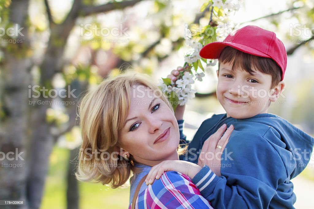 Happy mother with son royalty-free stock photo