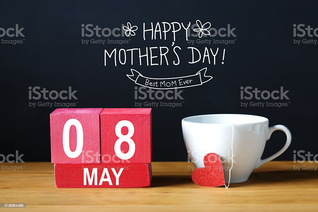 Happy Mothers Day 8 May message with coffee cup stock photo