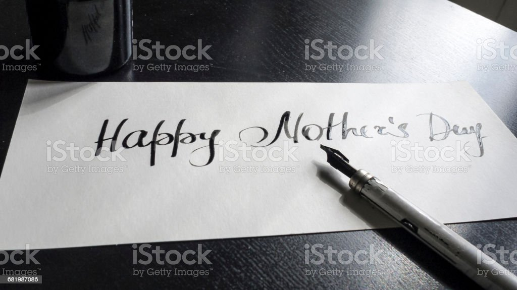 Happy Mother's day calligraphy and lattering post card. Perspective view stock photo