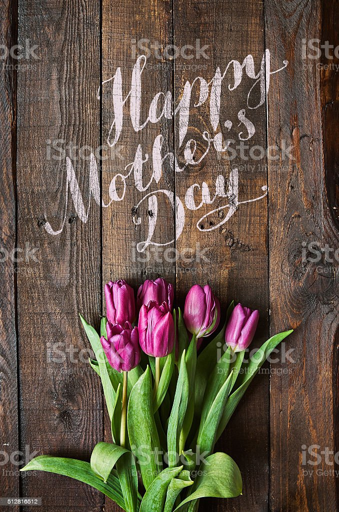 Happy Mother's Day lettering stock photo