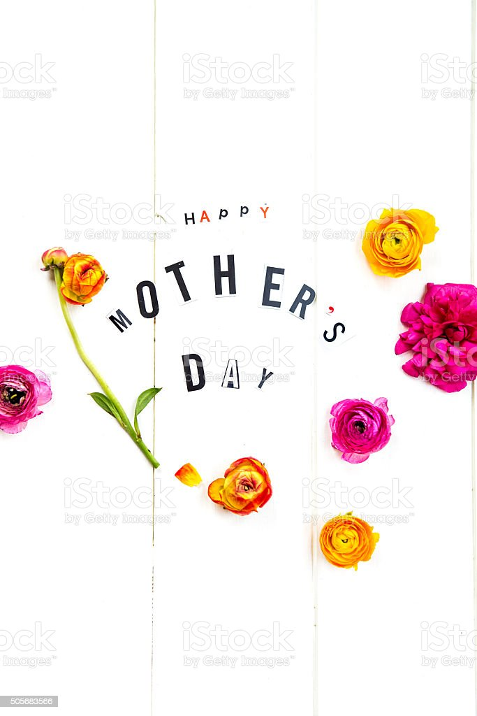 Happy Mothers Day Letters and Ranunculus stock photo