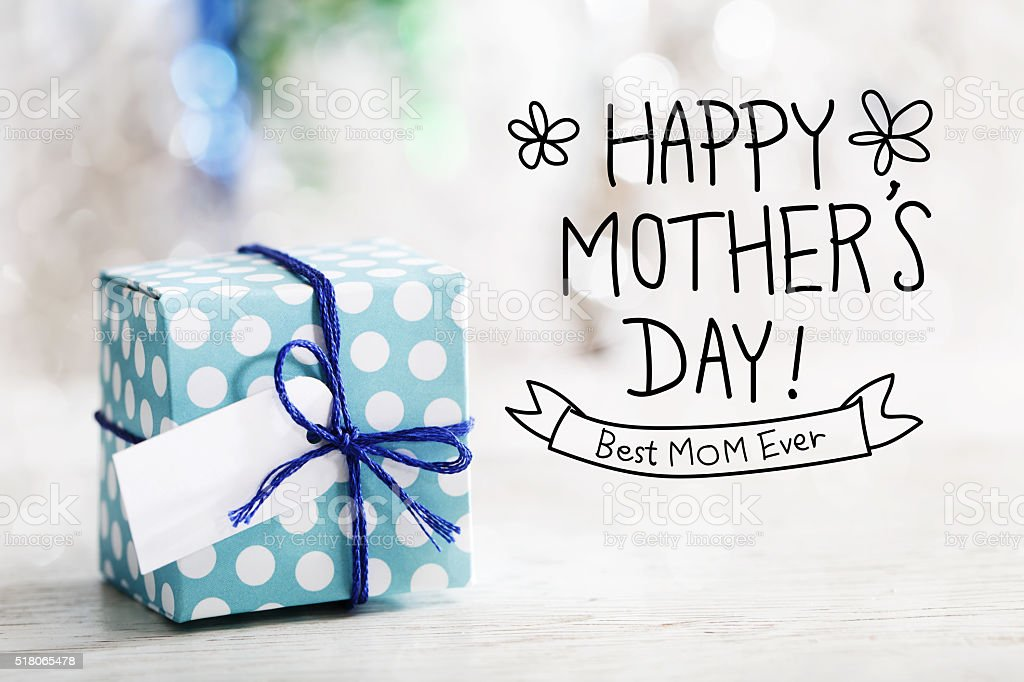Happy Mothers Day message with gift box stock photo