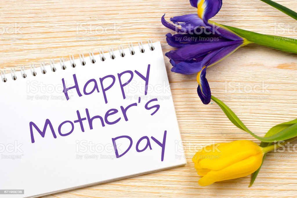 happy mother's day postcard with spring flowers stock photo