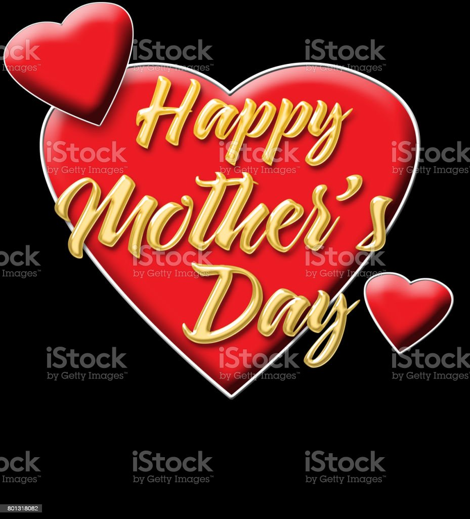 Happy Mother's Day, shiny golden text, bright red hearts, isolated against the Black background. stock photo