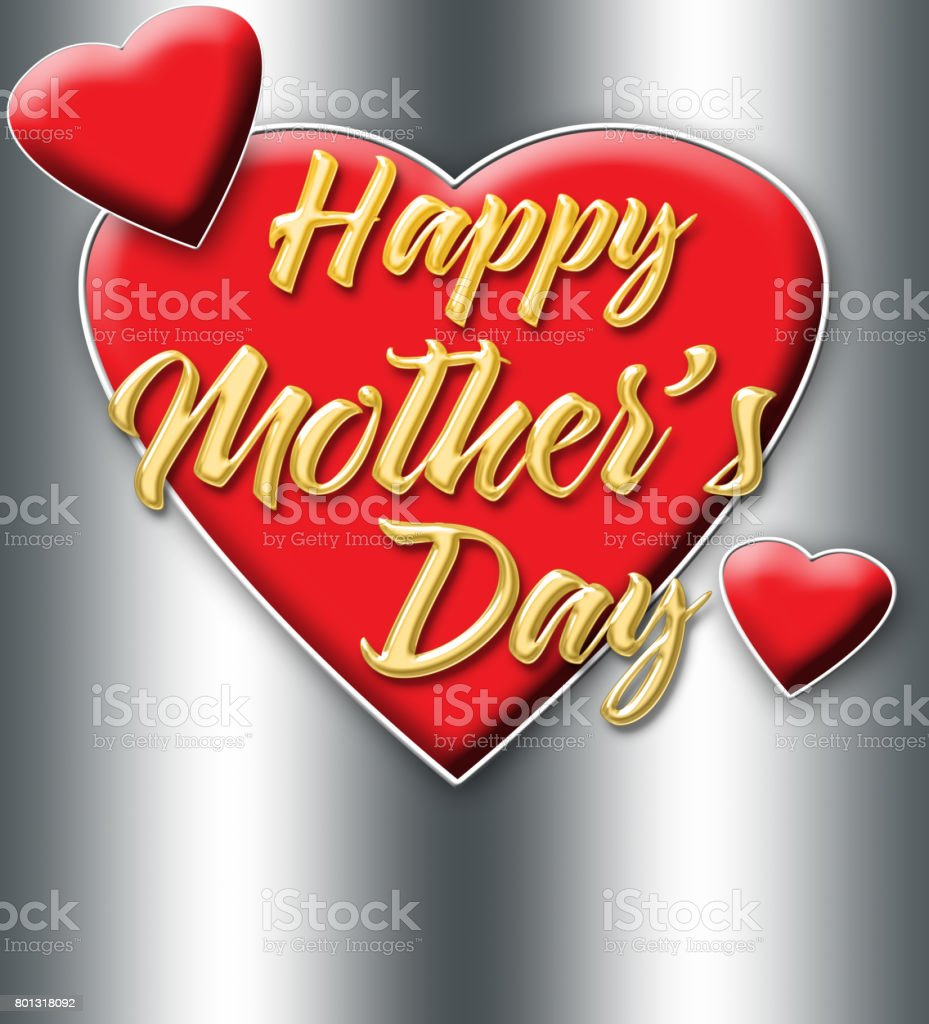 Happy Mother's Day, shiny golden text, bright red hearts, isolated against the silver background. stock photo