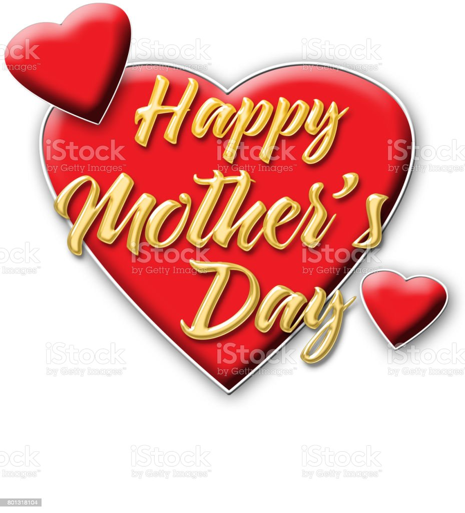 Happy Mother's Day, shiny golden text, bright red hearts, isolated against the white background. stock photo
