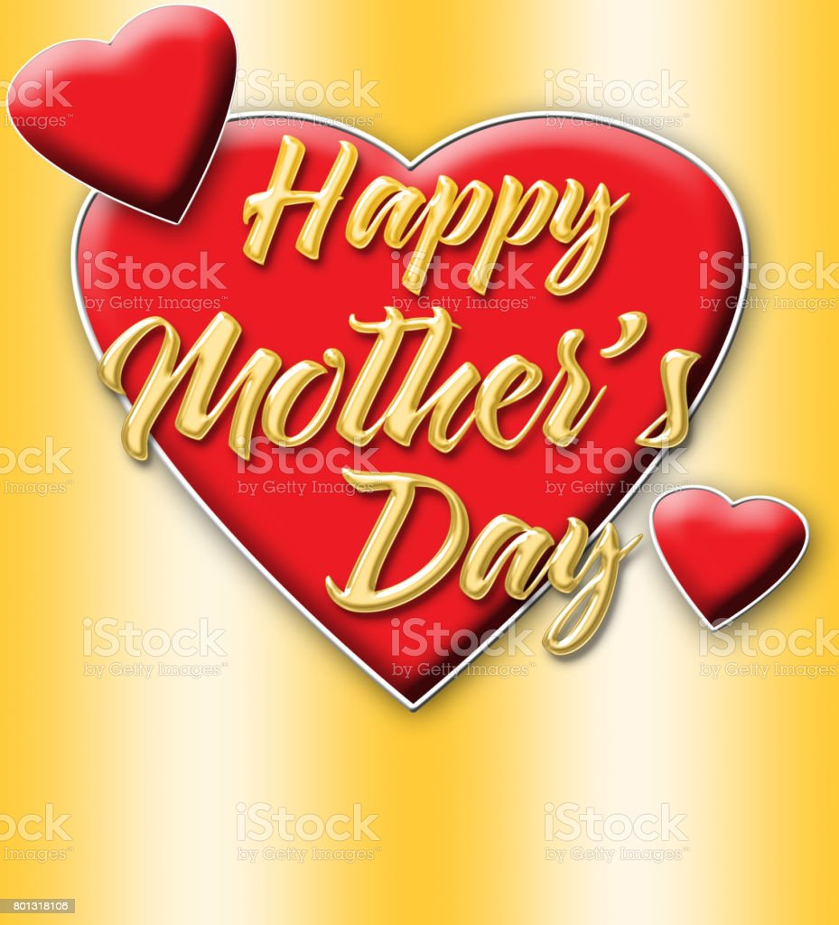 Happy Mother's Day, shiny golden text, bright red hearts, isolated against the golden background. stock photo