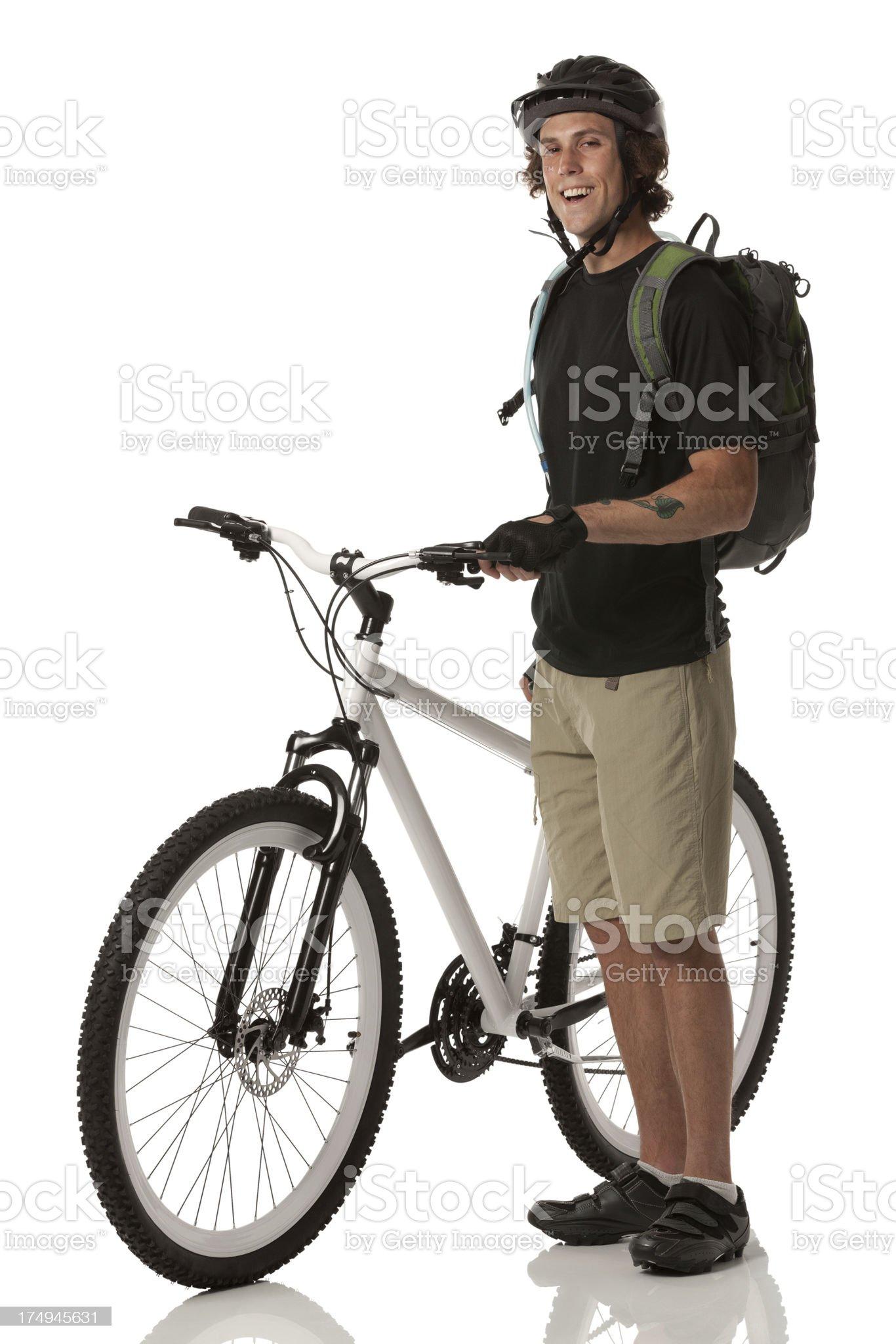 Happy mountain biker royalty-free stock photo