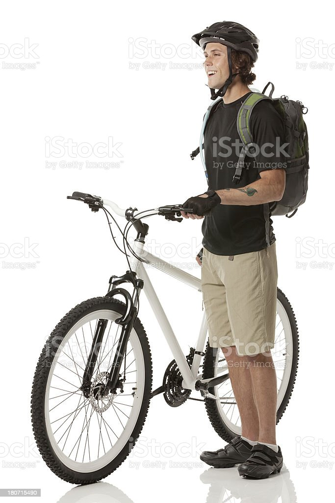 Happy mountain biker royalty-free stock photo