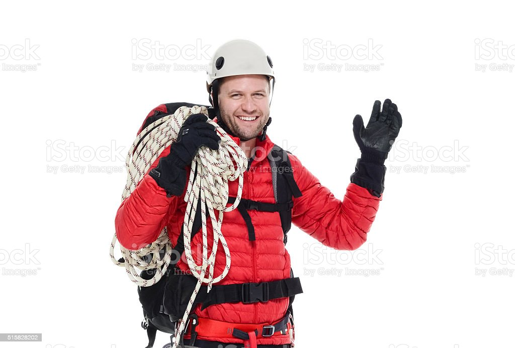 Happy mountain climber stock photo