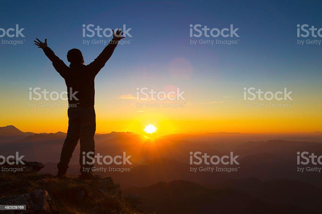 Happy mountaineer stock photo