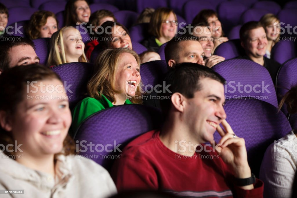 Happy Movie Theater Audience royalty-free stock photo