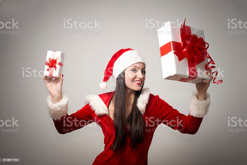 Happy Mrs. Claus With a presents stock photo