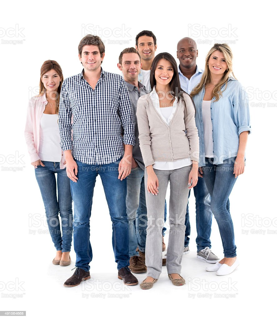 Happy multi-ethnic group of casual people stock photo