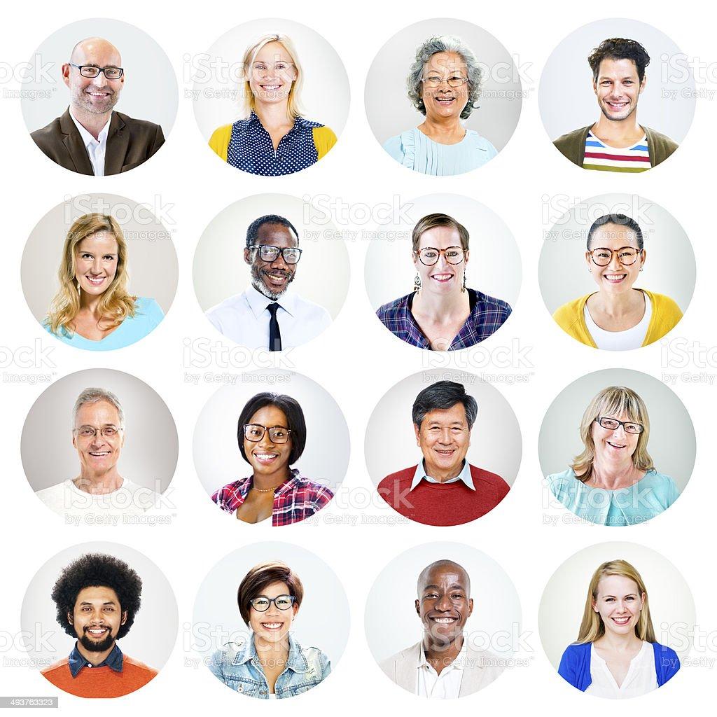 Happy Multiethnic Peoples' Headshot stock photo