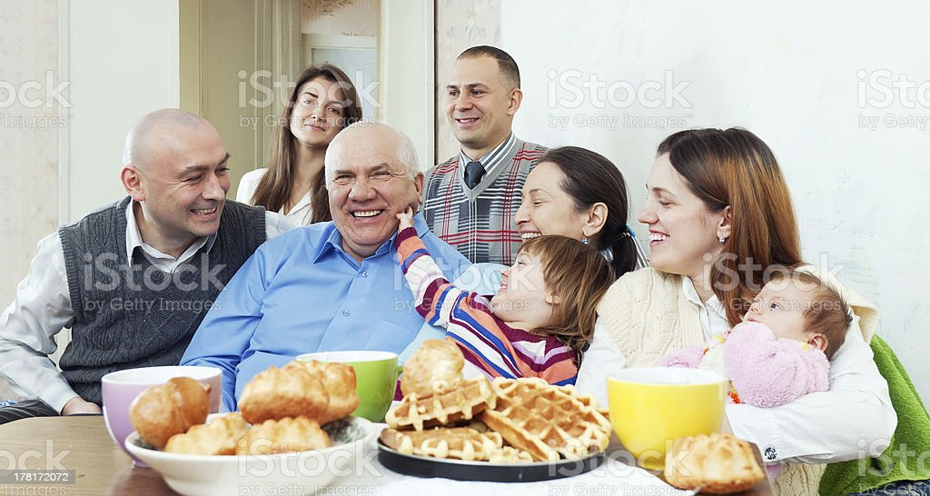 happy multigeneration family or group of friends royalty-free stock photo